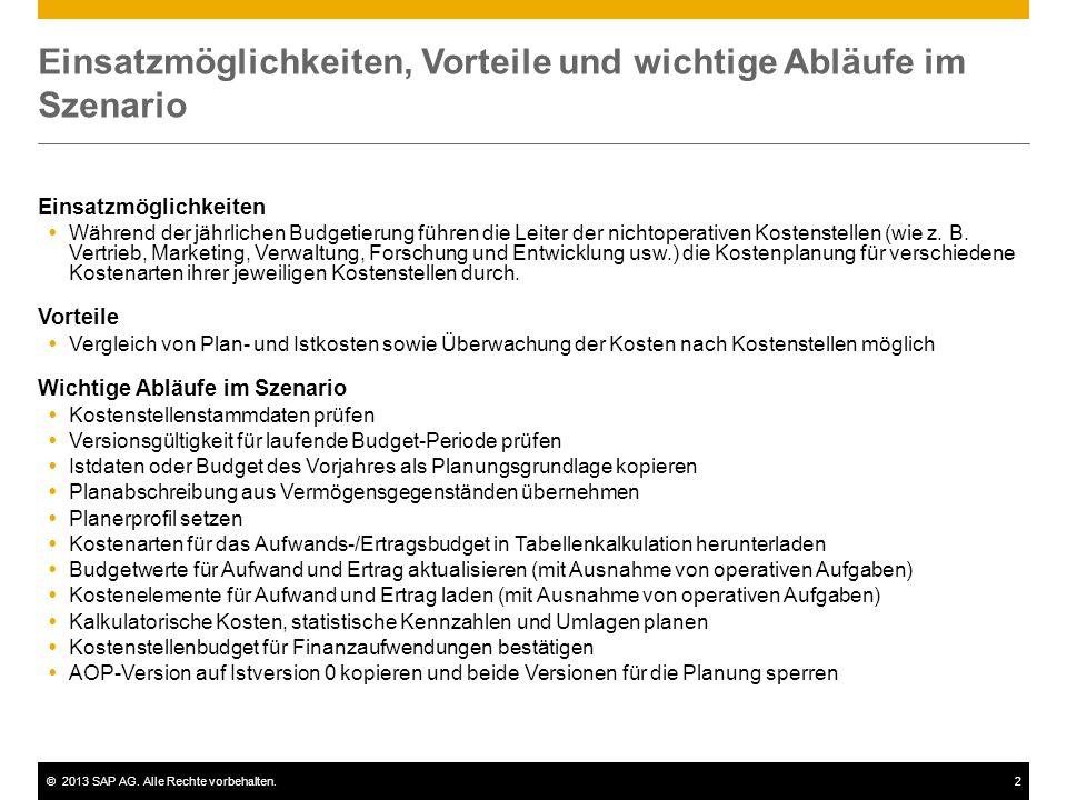 ©2013 SAP AG. Alle Rechte vorbehalten.2 Einsatzmöglichkeiten, Vorteile und wichtige Abläufe im Szenario Einsatzmöglichkeiten  Während der jährlichen