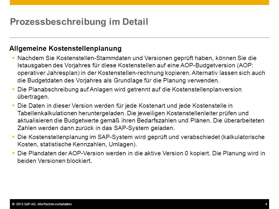 ©2013 SAP AG. Alle Rechte vorbehalten.4 Prozessbeschreibung im Detail Allgemeine Kostenstellenplanung  Nachdem Sie Kostenstellen-Stammdaten und Versi
