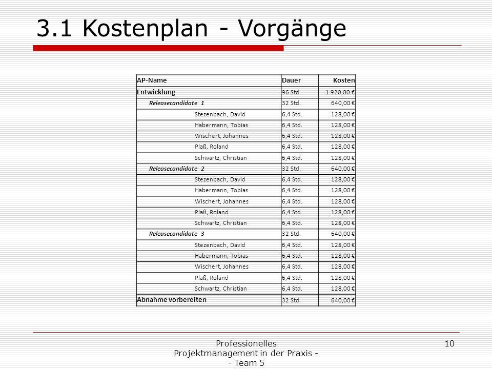 Professionelles Projektmanagement in der Praxis - - Team 5 10 3.1 Kostenplan - Vorgänge AP-NameDauerKosten Entwicklung 96 Std.1.920,00 € Releasecandid