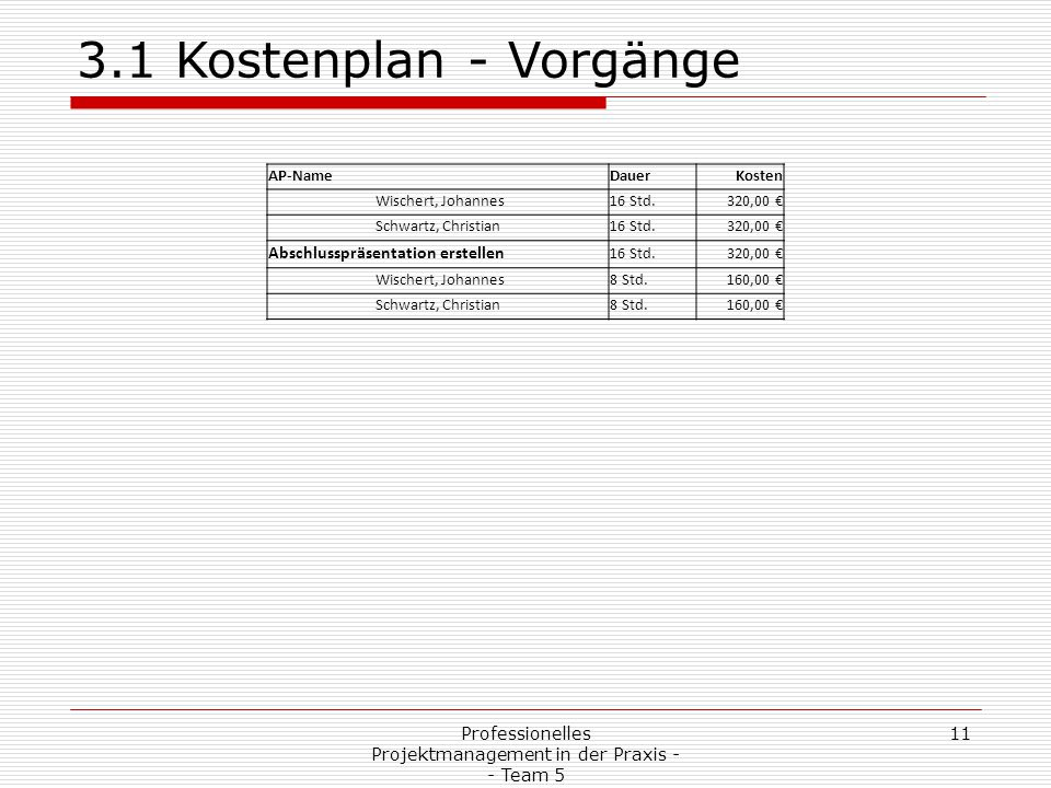 Professionelles Projektmanagement in der Praxis - - Team 5 11 3.1 Kostenplan - Vorgänge AP-NameDauerKosten Wischert, Johannes16 Std.320,00 € Schwartz,