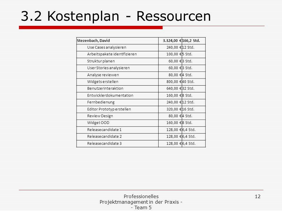 Professionelles Projektmanagement in der Praxis - - Team 5 12 3.2 Kostenplan - Ressourcen Stezenbach, David3.324,00 €166,2 Std. Use Cases analysieren2