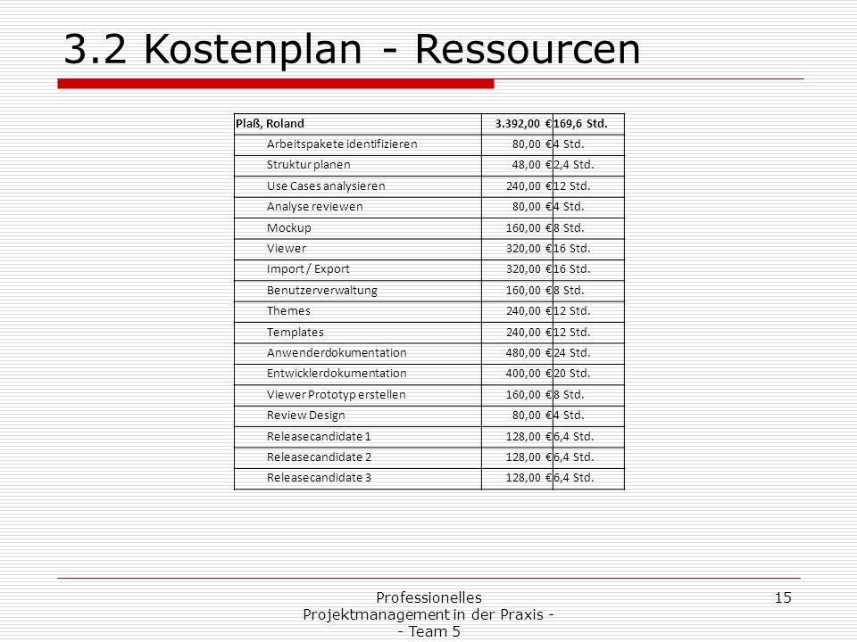 Professionelles Projektmanagement in der Praxis - - Team 5 15 3.2 Kostenplan - Ressourcen Plaß, Roland3.392,00 €169,6 Std. Arbeitspakete identifiziere