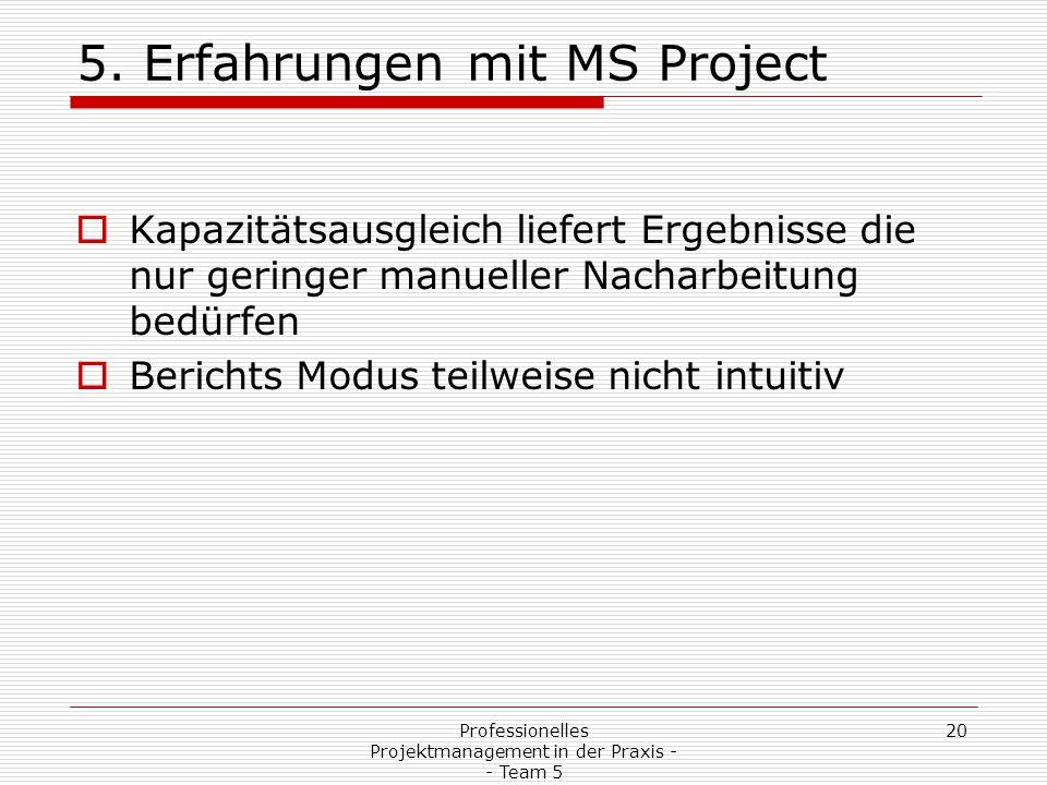 20Professionelles Projektmanagement in der Praxis - - Team 5 5. Erfahrungen mit MS Project  Kapazitätsausgleich liefert Ergebnisse die nur geringer m