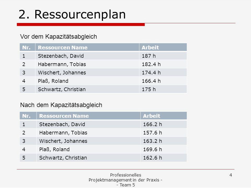 Professionelles Projektmanagement in der Praxis - - Team 5 4 2. Ressourcenplan Nr.Ressourcen NameArbeit 1Stezenbach, David166.2 h 2Habermann, Tobias15