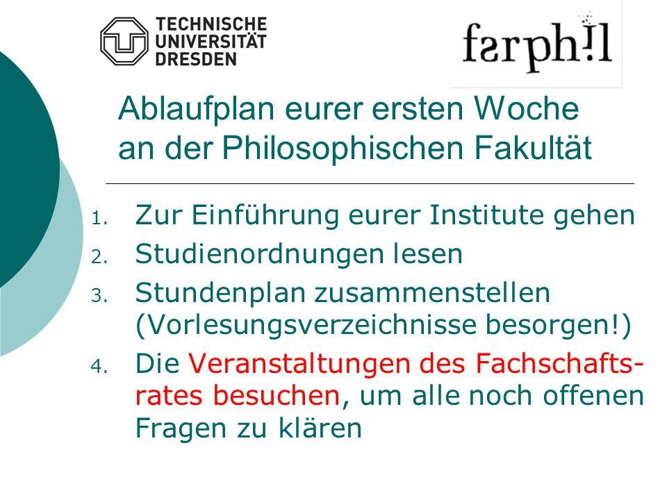 Ablaufplan eurer ersten Woche an der Philosophischen Fakultät 1. Zur Einführung eurer Institute gehen 2. Studienordnungen lesen 3. Stundenplan zusamme