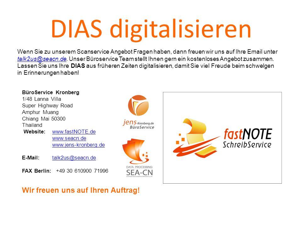 DIAS digitalisieren Wenn Sie zu unserem Scanservice Angebot Fragen haben, dann freuen wir uns auf Ihre Email unter talk2us@seacn.de.