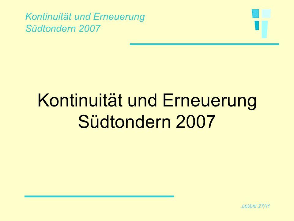 Unsere Kernaufgaben (noch besser) erfüllen Drei Schwerpunktprojekte fortführen Wirtschaftlich arbeiten (Umgang mit Ressourcen, Ressourcenmanagement ) Kontinuität und Erneuerung Südtondern 2007