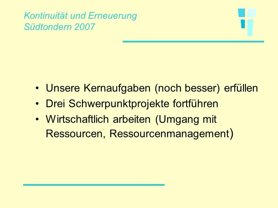 Unsere Kernaufgaben (noch besser) erfüllen Drei Schwerpunktprojekte fortführen Wirtschaftlich arbeiten (Umgang mit Ressourcen, Ressourcenmanagement )