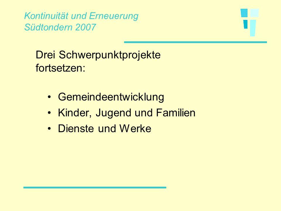 Gemeindeentwicklung Kinder, Jugend und Familien Dienste und Werke Drei Schwerpunktprojekte fortsetzen: Kontinuität und Erneuerung Südtondern 2007
