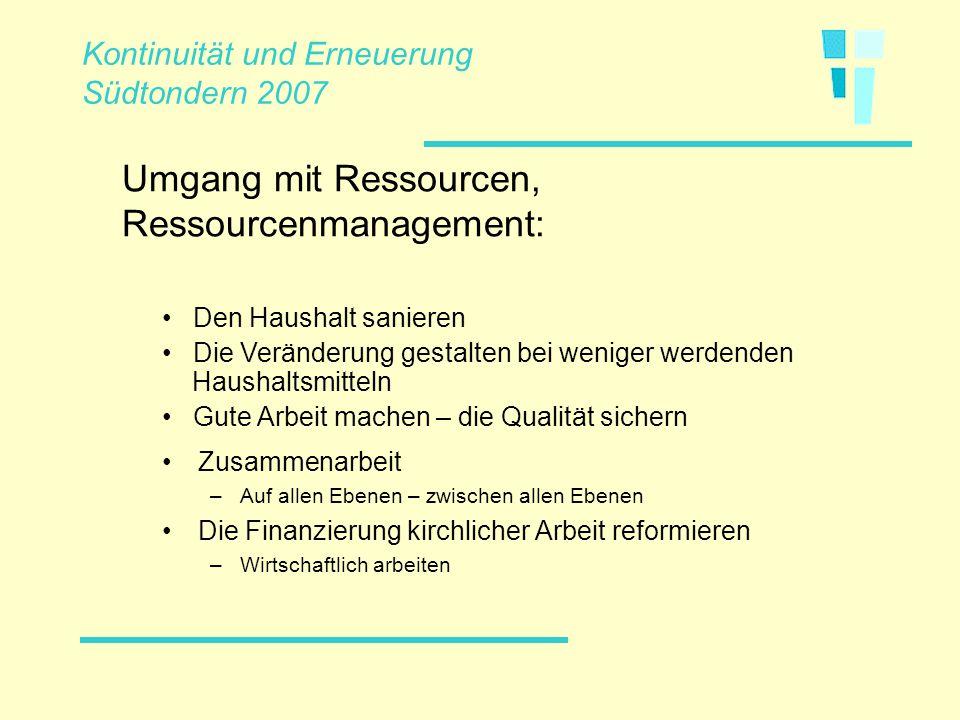 Zusammenarbeit –Auf allen Ebenen – zwischen allen Ebenen Die Finanzierung kirchlicher Arbeit reformieren –Wirtschaftlich arbeiten Umgang mit Ressource