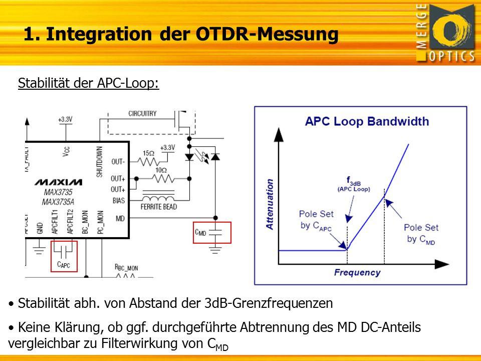 1. Integration der OTDR-Messung Stabilität der APC-Loop: Stabilität abh. von Abstand der 3dB-Grenzfrequenzen Keine Klärung, ob ggf. durchgeführte Abtr