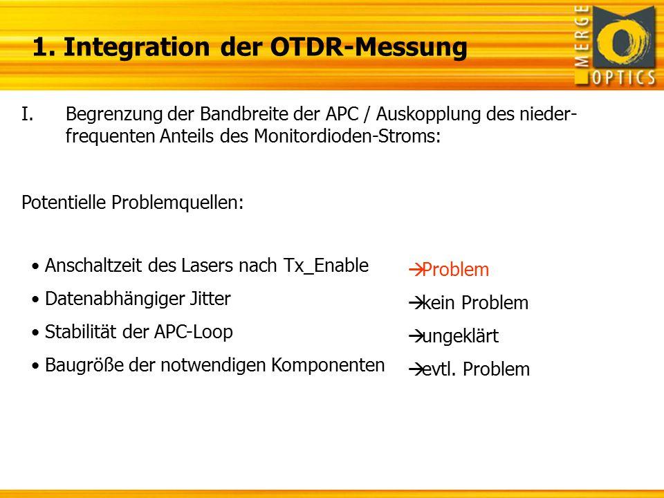 1. Integration der OTDR-Messung I.Begrenzung der Bandbreite der APC / Auskopplung des nieder- frequenten Anteils des Monitordioden-Stroms: Potentielle