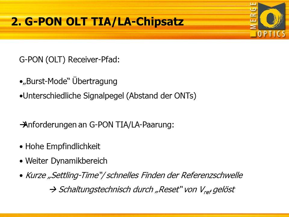 """2. G-PON OLT TIA/LA-Chipsatz G-PON (OLT) Receiver-Pfad: """"Burst-Mode"""" Übertragung Unterschiedliche Signalpegel (Abstand der ONTs)  Anforderungen an G-"""