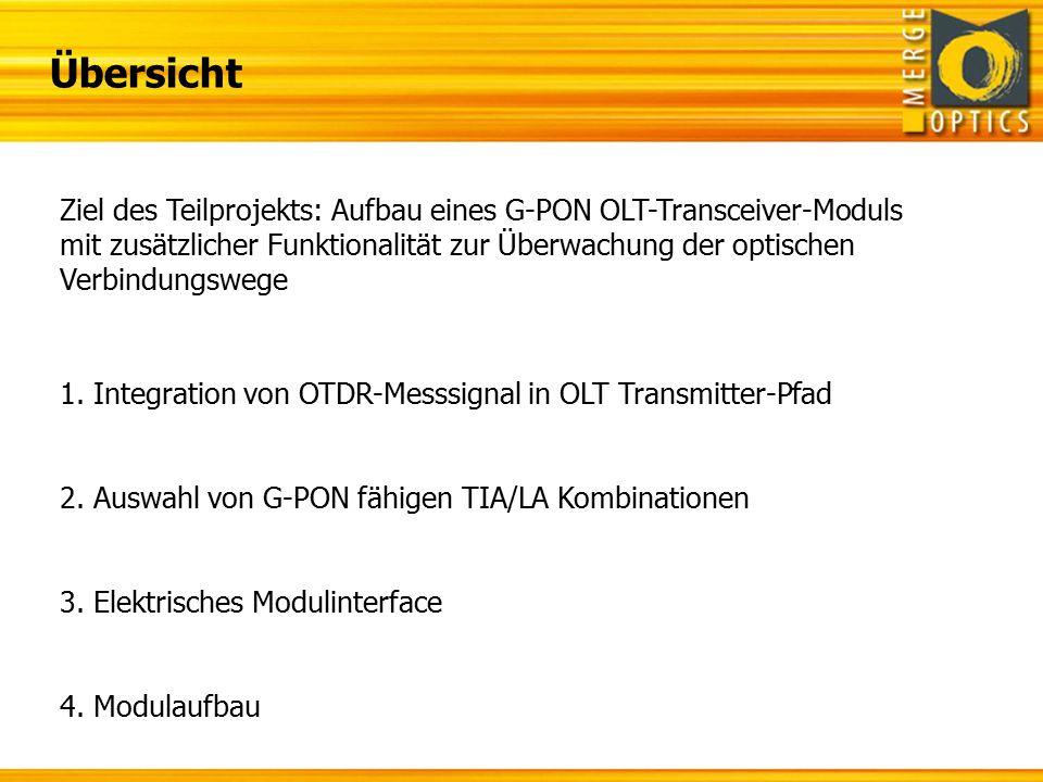 Vcc TxD TX_Dis I²C 1.Integration der OTDR-Messung II.