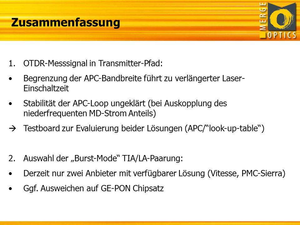 Zusammenfassung 1.OTDR-Messsignal in Transmitter-Pfad: Begrenzung der APC-Bandbreite führt zu verlängerter Laser- Einschaltzeit Stabilität der APC-Loo