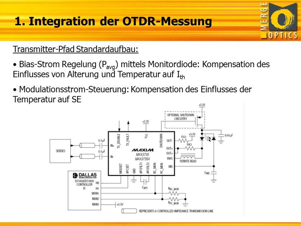"""Zusammenfassung 1.OTDR-Messsignal in Transmitter-Pfad: Begrenzung der APC-Bandbreite führt zu verlängerter Laser- Einschaltzeit Stabilität der APC-Loop ungeklärt (bei Auskopplung des niederfrequenten MD-Strom Anteils)  Testboard zur Evaluierung beider Lösungen (APC/ look-up-table ) 2.Auswahl der """"Burst-Mode TIA/LA-Paarung: Derzeit nur zwei Anbieter mit verfügbarer Lösung (Vitesse, PMC-Sierra) Ggf."""