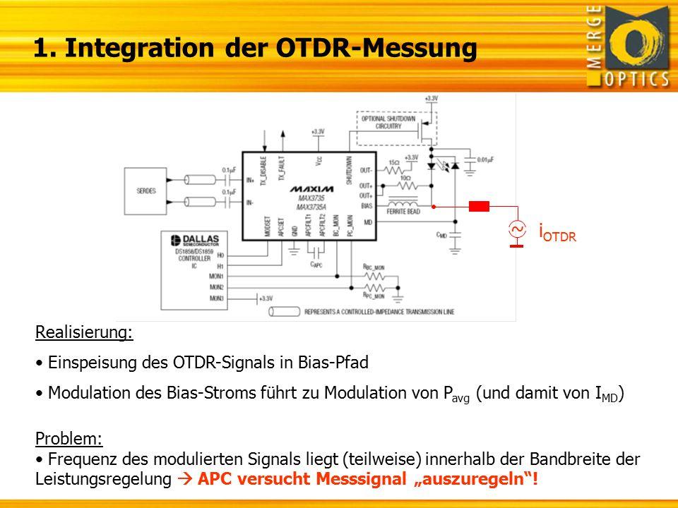 1. Integration der OTDR-Messung Realisierung: Einspeisung des OTDR-Signals in Bias-Pfad Modulation des Bias-Stroms führt zu Modulation von P avg (und