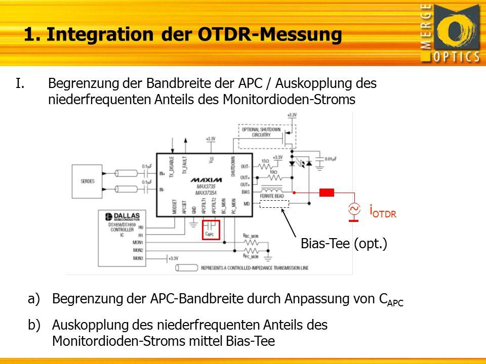 1. Integration der OTDR-Messung I.Begrenzung der Bandbreite der APC / Auskopplung des niederfrequenten Anteils des Monitordioden-Stroms ~ i OTDR a)Beg
