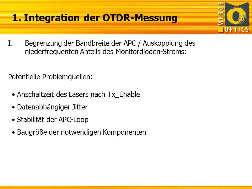 1. Integration der OTDR-Messung I.Begrenzung der Bandbreite der APC / Auskopplung des niederfrequenten Anteils des Monitordioden-Stroms: Potentielle P