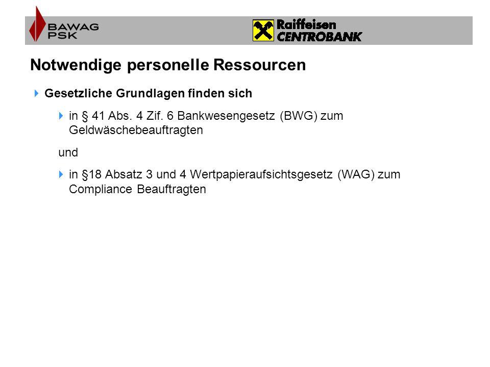 Notwendige personelle Ressourcen  Gesetzliche Grundlagen finden sich  in § 41 Abs. 4 Zif. 6 Bankwesengesetz (BWG) zum Geldwäschebeauftragten und  i