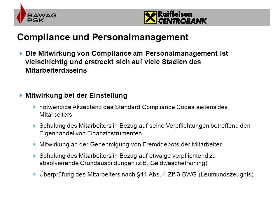  Die Mitwirkung von Compliance am Personalmanagement ist vielschichtig und erstreckt sich auf viele Stadien des Mitarbeiterdaseins  Mitwirkung bei d