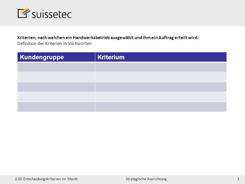 Strategische Ausrichtung2.02 Entscheidungskriterien im Markt Kriterien, nach welchen ein Handwerksbetrieb ausgewählt und ihm ein Auftrag erteilt wird: Definition der Kriterien in Stichworten 3 KundengruppeKriterium