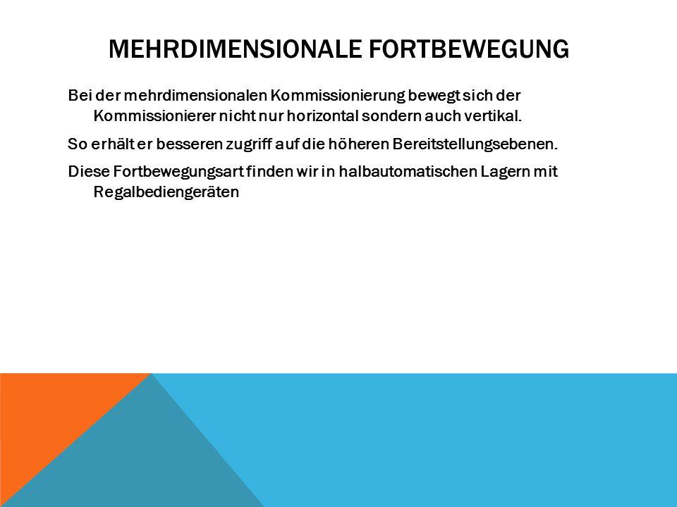 MEHRDIMENSIONALE FORTBEWEGUNG Bei der mehrdimensionalen Kommissionierung bewegt sich der Kommissionierer nicht nur horizontal sondern auch vertikal. S