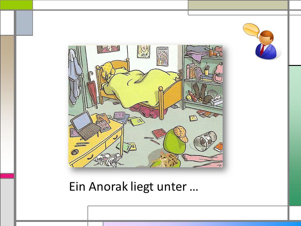 Der Anorak unter dem Bett. hängtliegt