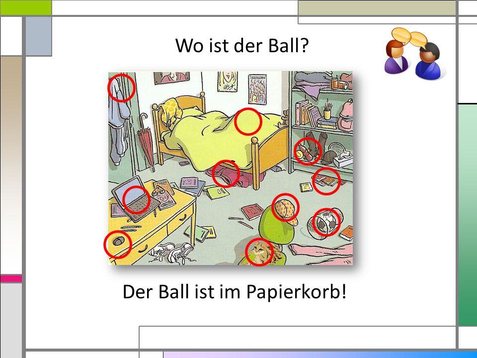 Der Ball ist im Papierkorb! Wo ist der Ball?