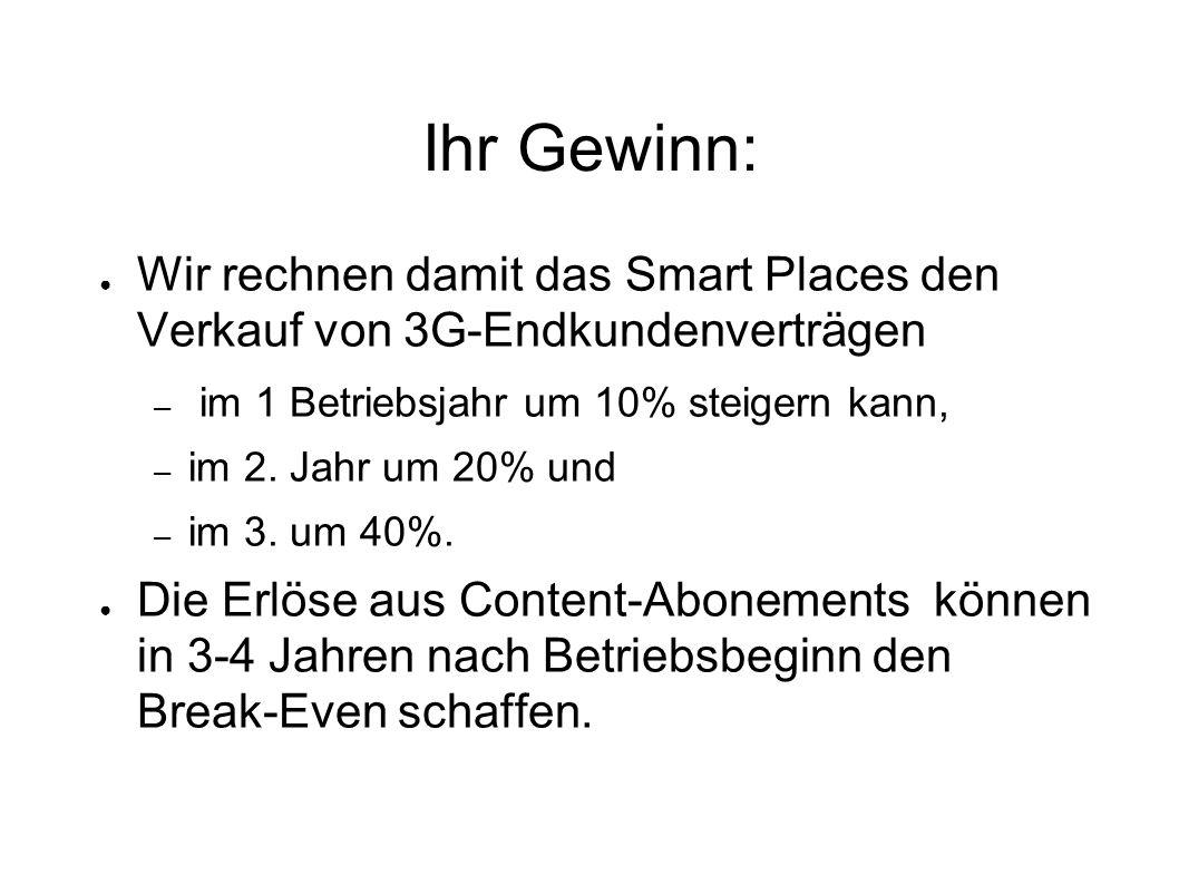 Ihr Gewinn: ● Wir rechnen damit das Smart Places den Verkauf von 3G-Endkundenverträgen – im 1 Betriebsjahr um 10% steigern kann, – im 2.