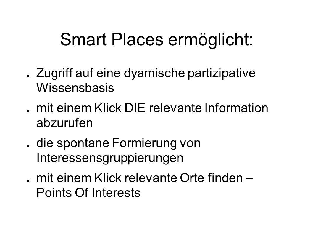 Smart Places ermöglicht: ● Zugriff auf eine dyamische partizipative Wissensbasis ● mit einem Klick DIE relevante Information abzurufen ● die spontane Formierung von Interessensgruppierungen ● mit einem Klick relevante Orte finden – Points Of Interests