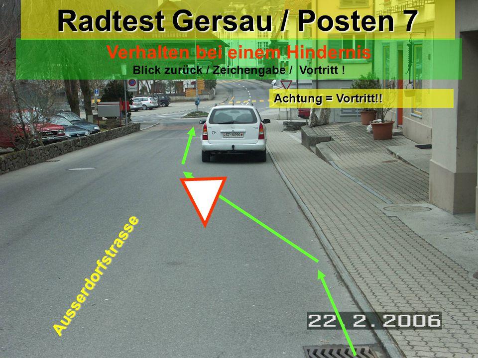Radtest Gersau / Posten 6 Linksabbiegen mit Einspurstrecke Blick zurück / Zeichengabe / Einspuren / Vortritt ! Rigiweg