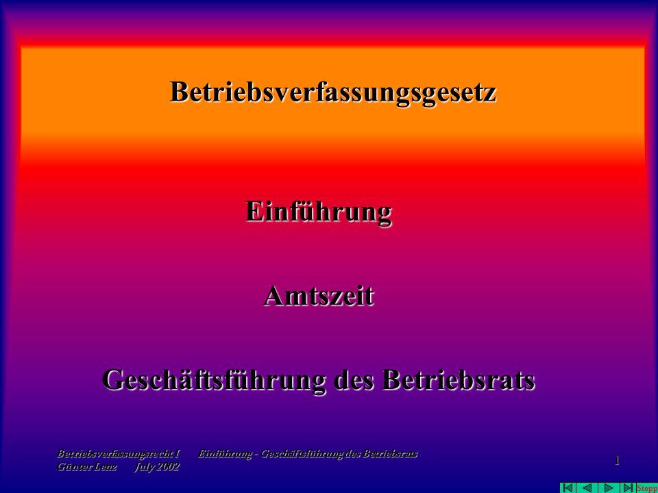 Betriebsverfassungsrecht I Einführung - Geschäftsführung des Betriebsrats Günter Lenz July 2002 1 Betriebsverfassungsgesetz Einführung Amtszeit Geschä