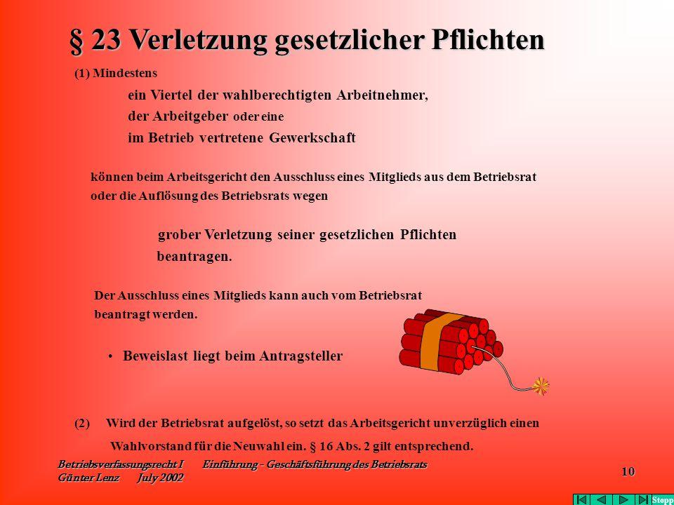 Betriebsverfassungsrecht I Einführung - Geschäftsführung des Betriebsrats Günter Lenz July 2002 10 (1) Mindestens ein Viertel der wahlberechtigten Arb