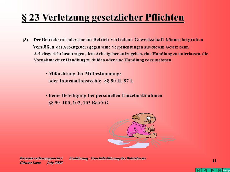 Betriebsverfassungsrecht I Einführung - Geschäftsführung des Betriebsrats Günter Lenz July 2002 11 (3) Der Betriebsrat oder eine im Betrieb vertretene