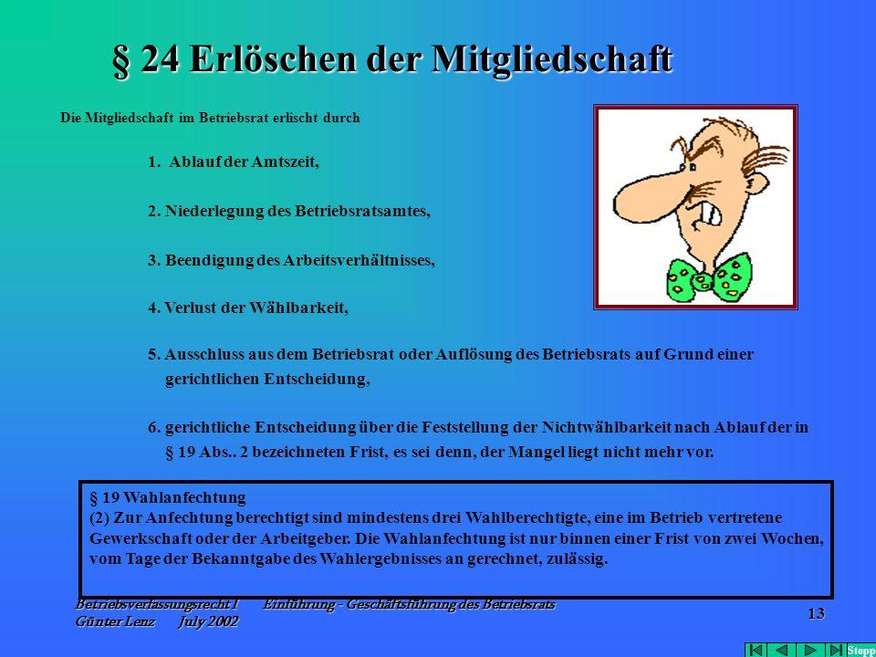 Betriebsverfassungsrecht I Einführung - Geschäftsführung des Betriebsrats Günter Lenz July 2002 13 Die Mitgliedschaft im Betriebsrat erlischt durch 1.