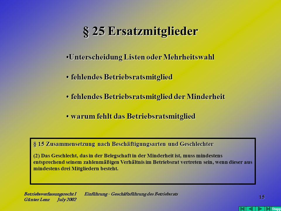 Betriebsverfassungsrecht I Einführung - Geschäftsführung des Betriebsrats Günter Lenz July 2002 15 § 25 Ersatzmitglieder § 15 Zusammensetzung nach Bes