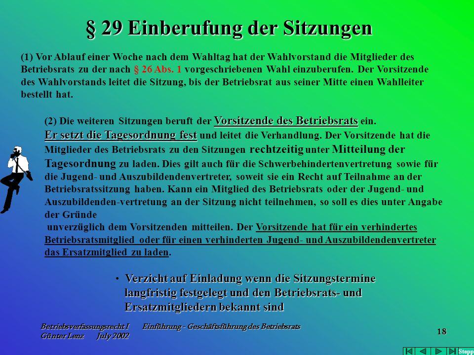 Betriebsverfassungsrecht I Einführung - Geschäftsführung des Betriebsrats Günter Lenz July 2002 18 (1) Vor Ablauf einer Woche nach dem Wahltag hat der