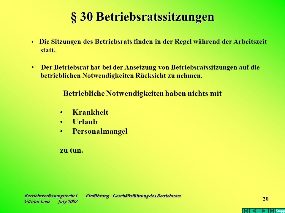 Betriebsverfassungsrecht I Einführung - Geschäftsführung des Betriebsrats Günter Lenz July 2002 20 Die Sitzungen des Betriebsrats finden in der Regel