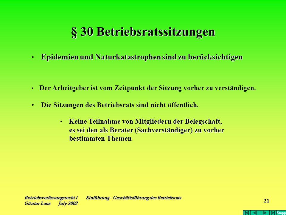 Betriebsverfassungsrecht I Einführung - Geschäftsführung des Betriebsrats Günter Lenz July 2002 21 § 30 Betriebsratssitzungen Epidemien und Naturkatas