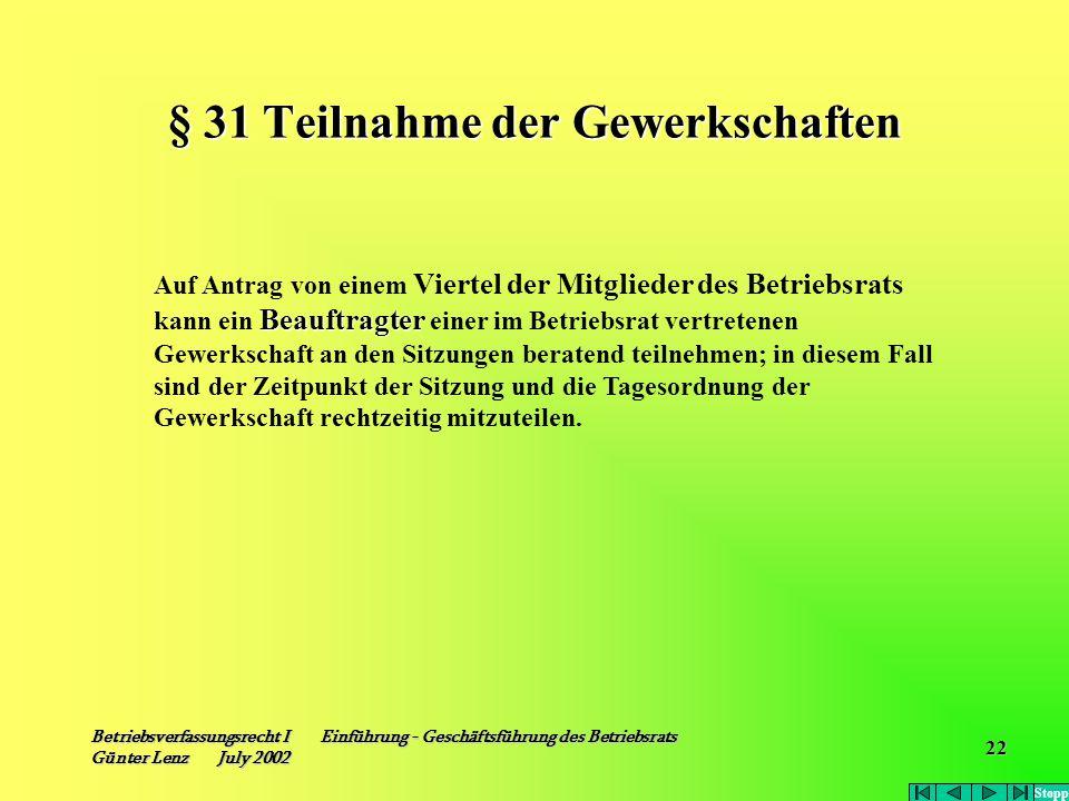 Betriebsverfassungsrecht I Einführung - Geschäftsführung des Betriebsrats Günter Lenz July 2002 22 § 31 Teilnahme der Gewerkschaften Beauftragter Auf