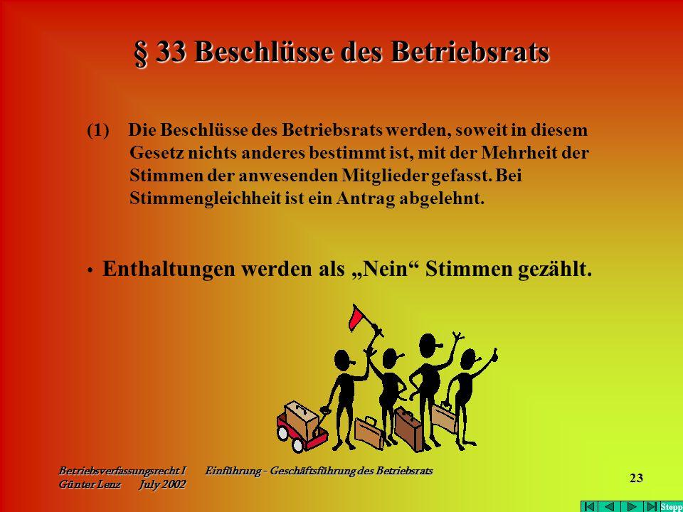 Betriebsverfassungsrecht I Einführung - Geschäftsführung des Betriebsrats Günter Lenz July 2002 23 (1) Die Beschlüsse des Betriebsrats werden, soweit