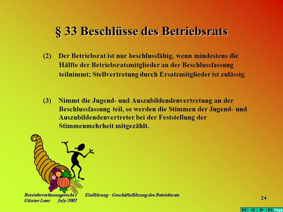 Betriebsverfassungsrecht I Einführung - Geschäftsführung des Betriebsrats Günter Lenz July 2002 24 § 33 Beschlüsse des Betriebsrats (2) Der Betriebsra