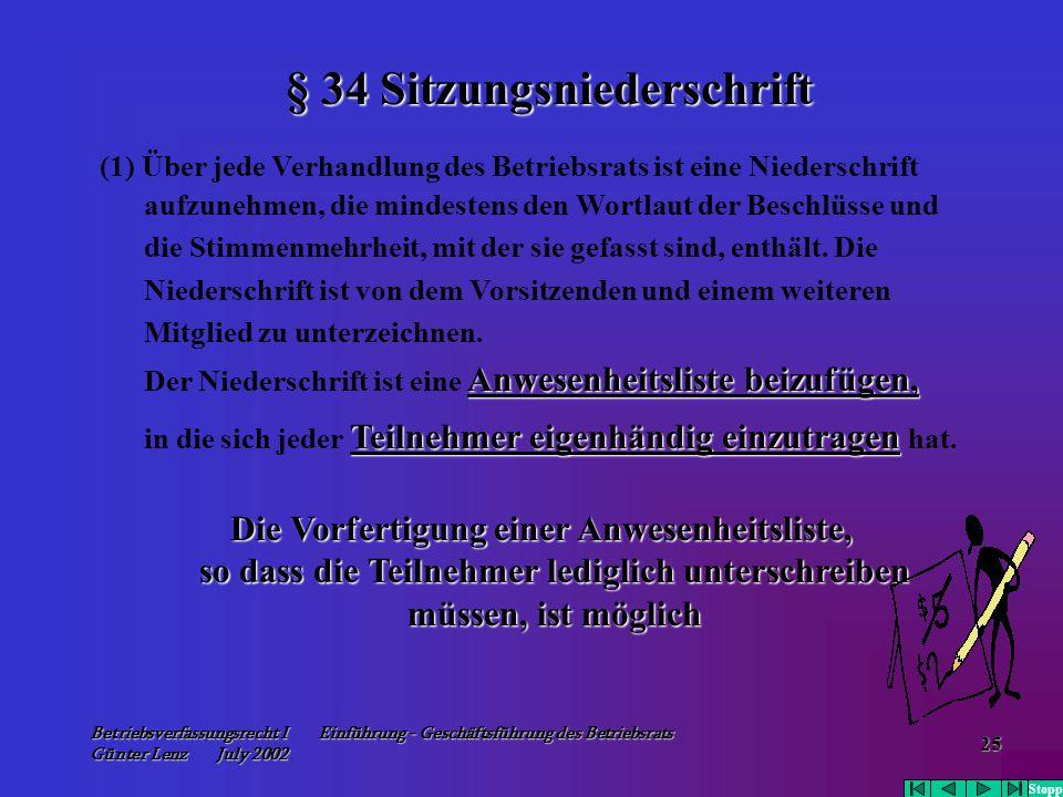 Betriebsverfassungsrecht I Einführung - Geschäftsführung des Betriebsrats Günter Lenz July 2002 25 (1) Über jede Verhandlung des Betriebsrats ist eine