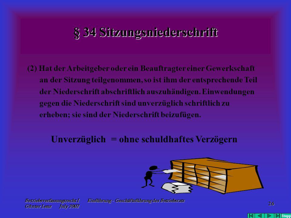 Betriebsverfassungsrecht I Einführung - Geschäftsführung des Betriebsrats Günter Lenz July 2002 26 § 34 Sitzungsniederschrift (2) Hat der Arbeitgeber