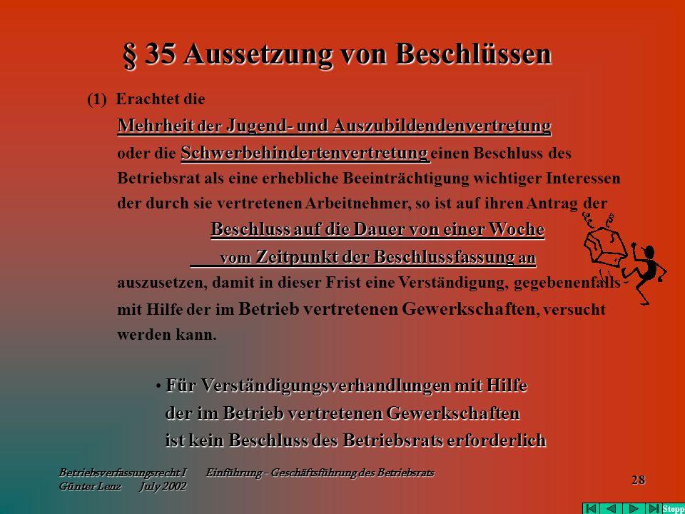 Betriebsverfassungsrecht I Einführung - Geschäftsführung des Betriebsrats Günter Lenz July 2002 28 (1) Erachtet die Mehrheit der Jugend- und Auszubild
