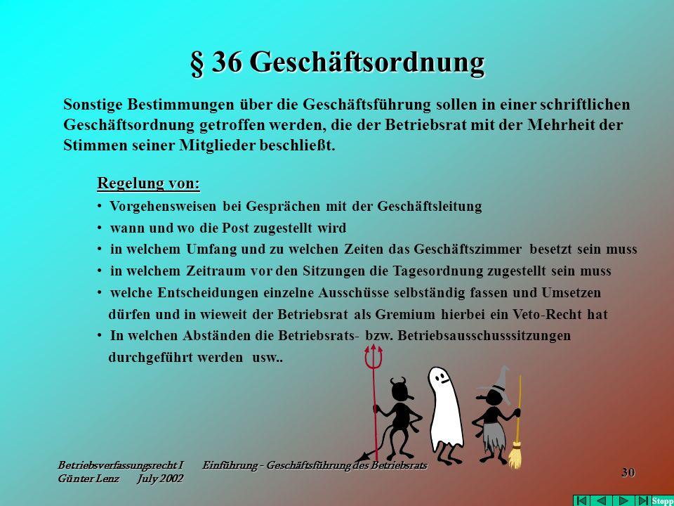Betriebsverfassungsrecht I Einführung - Geschäftsführung des Betriebsrats Günter Lenz July 2002 30 § 36 Geschäftsordnung Sonstige Bestimmungen über di