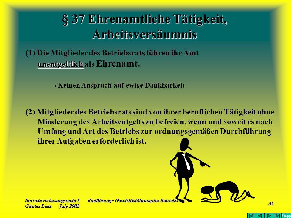 Betriebsverfassungsrecht I Einführung - Geschäftsführung des Betriebsrats Günter Lenz July 2002 31 § 37 Ehrenamtliche Tätigkeit, Arbeitsversäumnis (1)