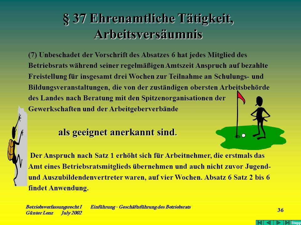 Betriebsverfassungsrecht I Einführung - Geschäftsführung des Betriebsrats Günter Lenz July 2002 36 § 37 Ehrenamtliche Tätigkeit, Arbeitsversäumnis (7)