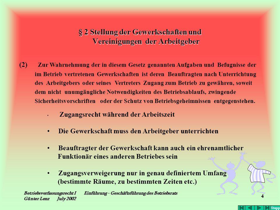 Betriebsverfassungsrecht I Einführung - Geschäftsführung des Betriebsrats Günter Lenz July 2002 4 § 2 Stellung der Gewerkschaften und Vereinigungen de
